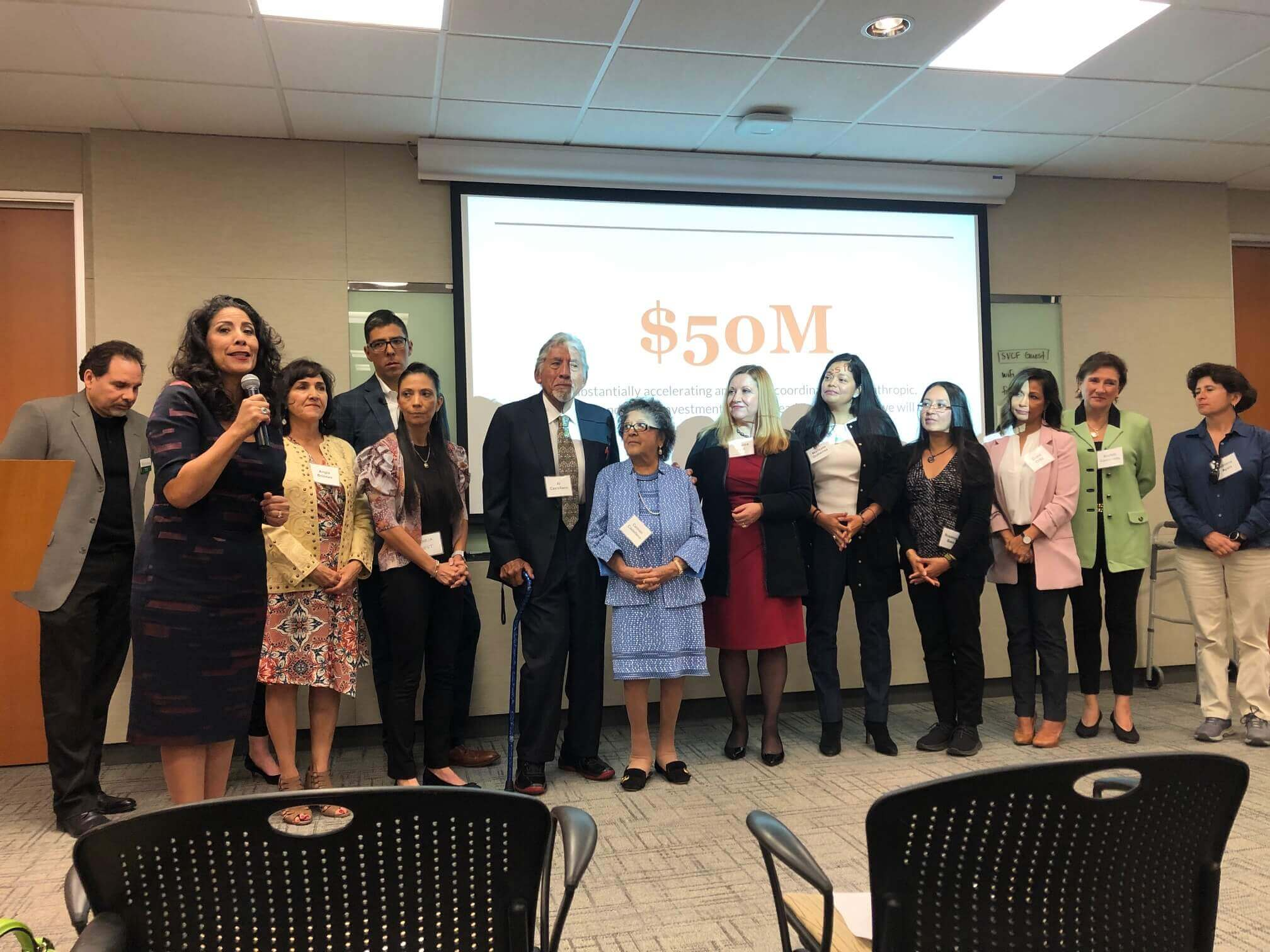 Caption: Castellano Family Foundation Trustees, grantees and philanthropic leaders call for a $50 million investment in Latinx-led organizations in the Silicon Valley.